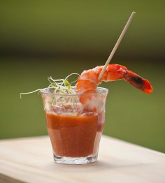 Gazpacho spicy tomato & chard grilled pepper with pan seared prawn