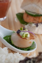Pan seared Scallop with wakame and wasabi aioli