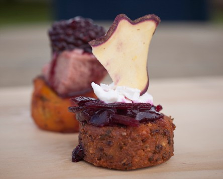 Feta & Quinoa Falafels with beetroot Jam and goats cheese